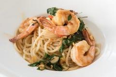 Spaghetti garnela obrazy royalty free