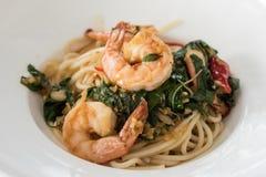 Spaghetti garnela fotografia stock
