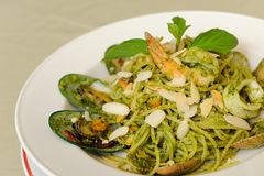 Spaghetti Genovese with Seafood Stock Photography