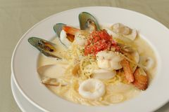 Spaghetti Genovese with Seafood Stock Image