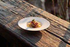Spaghetti gezouten vlees Stock Afbeelding