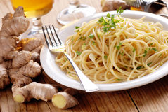 Spaghetti with ginger and parsley Royalty Free Stock Photos