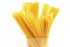 Spaghetti in a glass container Stock Photography