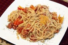 Spaghetti gość restauracji zdjęcia royalty free