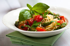 Spaghetti with green asparagus Royalty Free Stock Photo