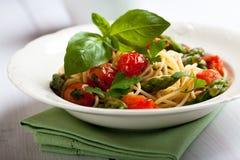 Spaghetti with green asparagus Royalty Free Stock Photo