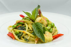 Spaghetti and green curry Royalty Free Stock Photography