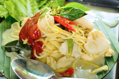 Spaghetti and green curry sauce Royalty Free Stock Photo