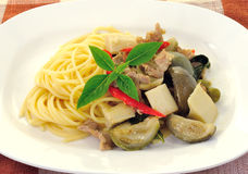 Spaghetti with green pork curry Royalty Free Stock Photos