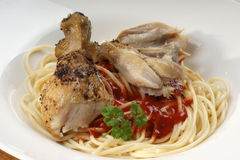 Spaghetti with grilled chicken wing Stock Photo