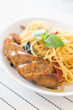 Spaghetti with Grilled Sausage Royalty Free Stock Photos