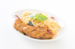 Spaghetti with Grilled Sausage Stock Image