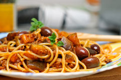 Spaghetti with ground meat and eggplants Stock Photo