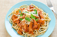 Spaghetti with ham Royalty Free Stock Image