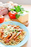 Spaghetti with ham Stock Photography