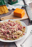 Spaghetti. With ham and cheese Stock Images