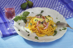 Spaghetti ham and cream sauce Stock Image