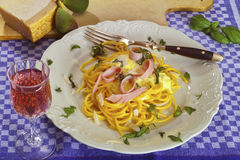 Spaghetti ham and cream sauce Stock Images