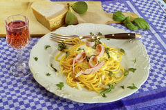 Spaghetti ham and cream sauce Royalty Free Stock Image