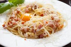Spaghetti with ham and egg, carbonara Stock Photo