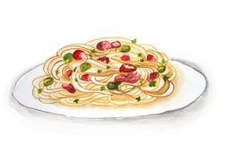 Spaghetti hand drawn Stock Photography