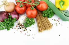 Spaghetti and herbs Royalty Free Stock Photos