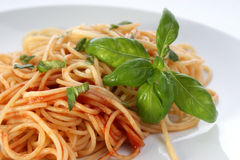 Spaghetti with home made tomato sauce Royalty Free Stock Image