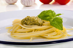 Spaghetti with homemade pesto Royalty Free Stock Image