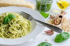 Spaghetti with homemade pesto sauce Royalty Free Stock Photo