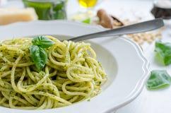 Spaghetti with homemade pesto sauce Stock Images