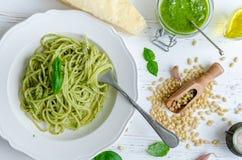 Spaghetti with homemade pesto sauce Royalty Free Stock Photography
