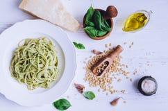 Spaghetti with homemade pesto sauce Stock Image