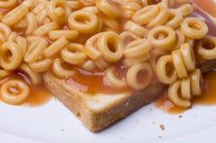 Spaghetti Hoops. A plate of spaghetti hoops on toast Royalty Free Stock Photos