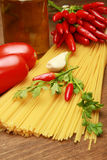 Spaghetti with hot red pepper Royalty Free Stock Images
