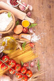 Spaghetti and ingredient Royalty Free Stock Images