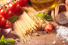 Spaghetti and ingredient Royalty Free Stock Photos