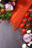Spaghetti and ingredient Stock Photography