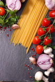 Spaghetti and ingredient Royalty Free Stock Photo