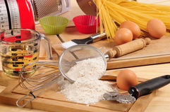 Spaghetti ingredients. Stock Photos