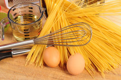 Spaghetti ingredients. Royalty Free Stock Photo