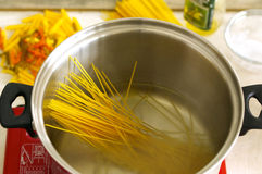 Spaghetti ingredients stock photo