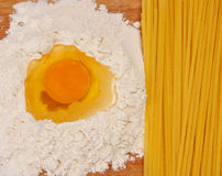 Spaghetti and ingredients Royalty Free Stock Image