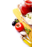 Spaghetti and ingredients Royalty Free Stock Photo