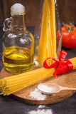 Spaghetti and ingredients Royalty Free Stock Images