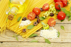 Spaghetti ingredients Royalty Free Stock Photos