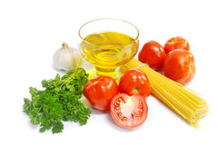 Spaghetti and ingredients Stock Photo