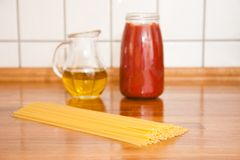 Spaghetti ingredients on table Royalty Free Stock Photos