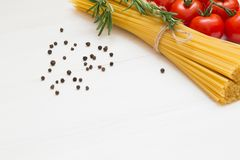 Pasta ingredients, spaghetti, concept on white background, top view, copy space, macro stock images