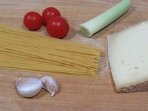 Spaghetti. Ingredients for a traditional dish of spaghetti Royalty Free Stock Images