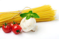 Spaghetti with ingridients on white Stock Image
